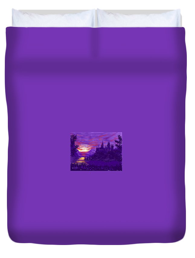 Ipad Art Duvet Cover featuring the painting Hogwarts In Purple by Glenn Marshall