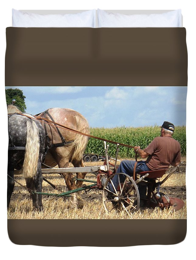 Horses Duvet Cover featuring the photograph Hold Your Horses by Ian MacDonald