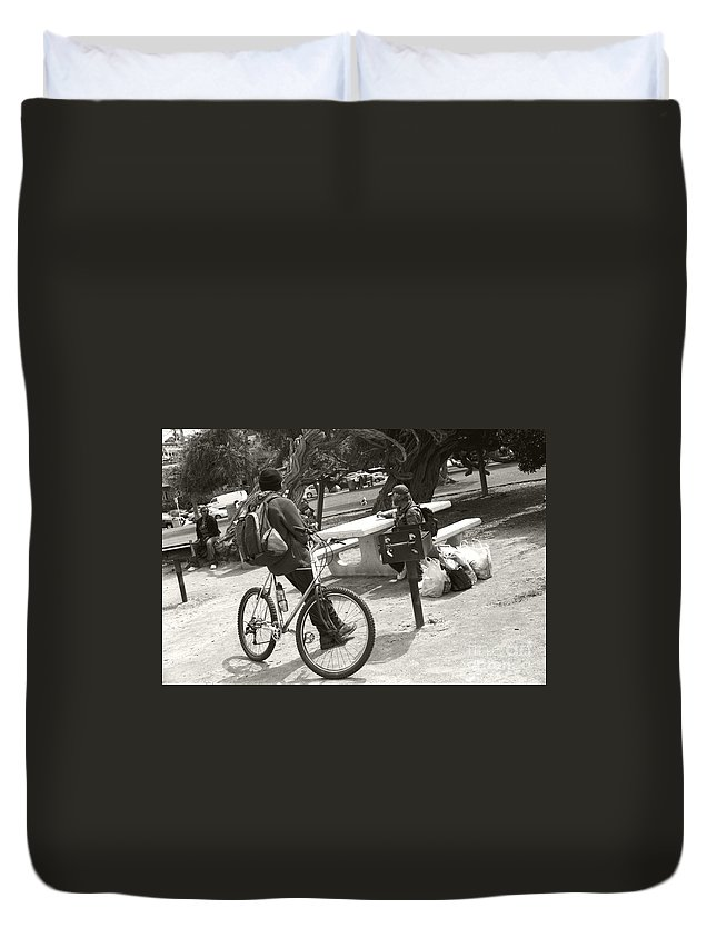 Homeless Duvet Cover featuring the photograph Holding Court by Heather Kirk