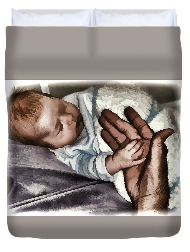 Baby Duvet Cover featuring the photograph Holding Hands by Melvin Busch