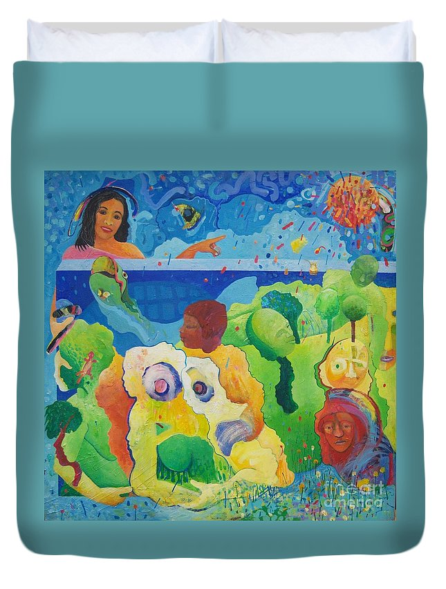 Human Relationships Duvet Cover featuring the painting Holding Lifes Illusion by Richard Heley