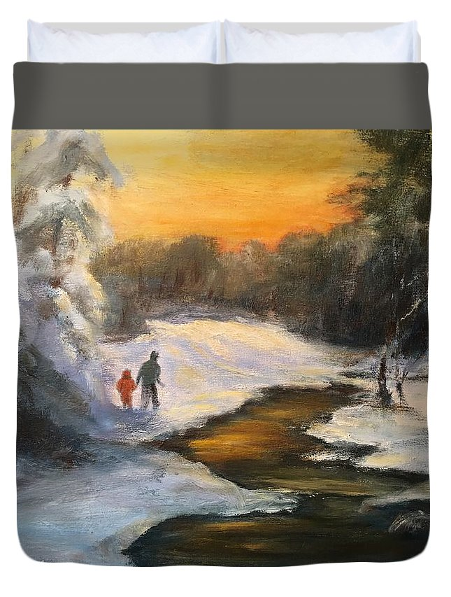 Snow Duvet Cover featuring the painting Holding My Father's Hand by Gail Kirtz