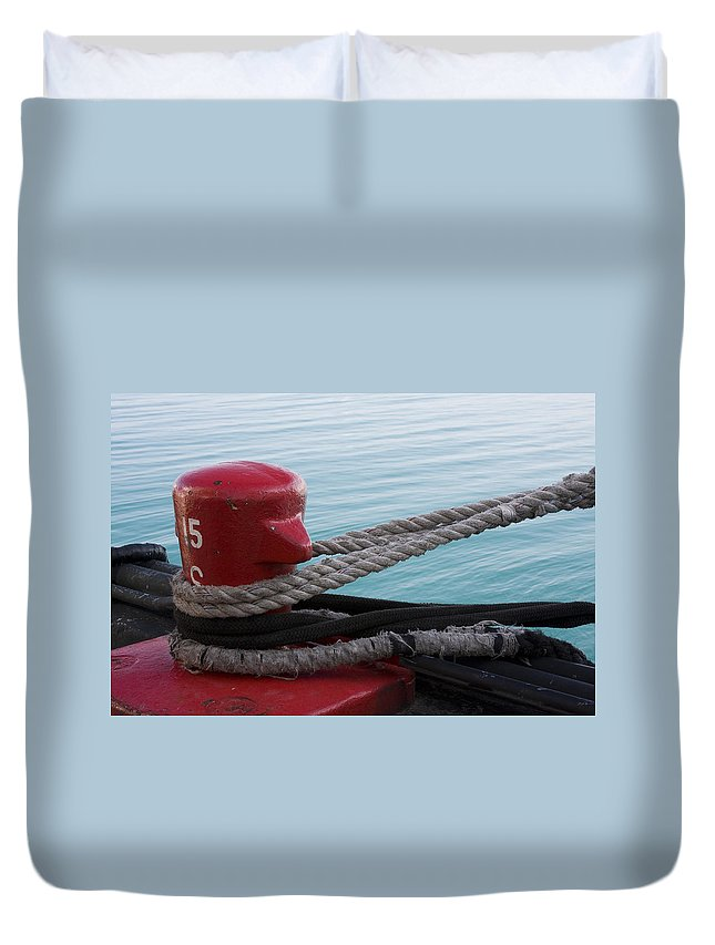 Chicago Windy City Navy Pier Lake Michigan Water Red Blue Wave Rope Ship Boat Duvet Cover featuring the photograph Holding Tight by Andrei Shliakhau