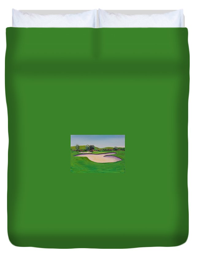Golf Duvet Cover featuring the painting Hole 10 Pastures of Heaven by Shannon Grissom