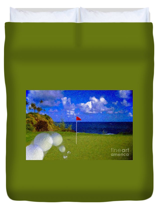 Hole In One 18th Green Ball Flag Green Ocean Palm Trees Duvet Cover featuring the photograph Fantastic 18th Green by David Zanzinger