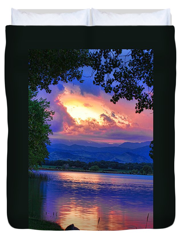 Sunsets Duvet Cover featuring the photograph Hole In The Sky Sunset by James BO Insogna
