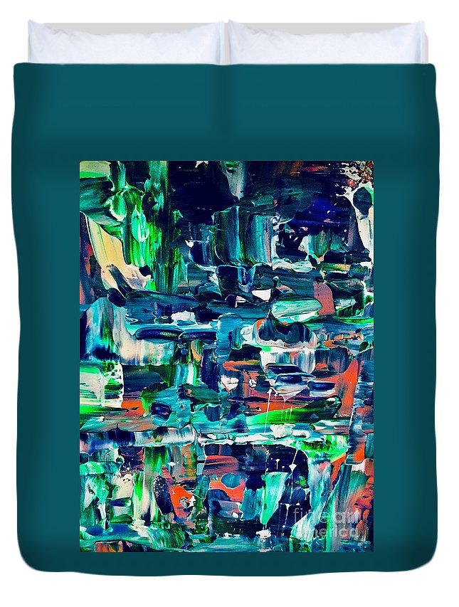 Abstract Duvet Cover featuring the painting Hole In The Wall by Elle Justine