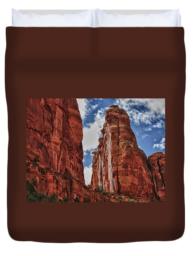 High Duvet Cover featuring the digital art Hole In The Wall by Gary Baird