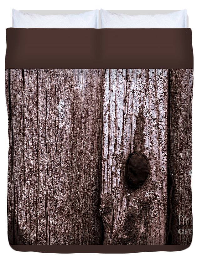 Wood Duvet Cover featuring the photograph Hole In The Wall. by John Cox