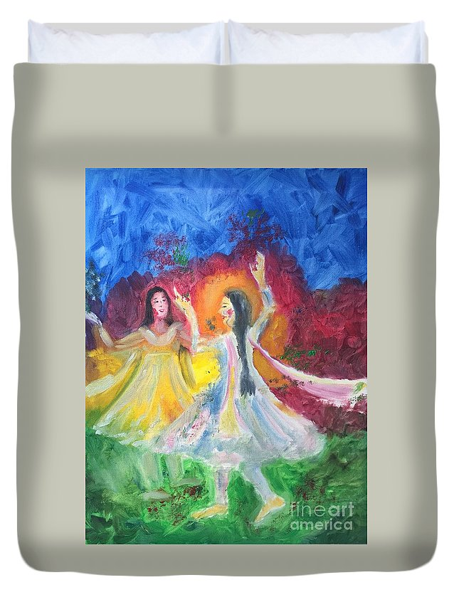 Holi Duvet Cover featuring the painting Holi-festival Of Colors by Brindha Naveen