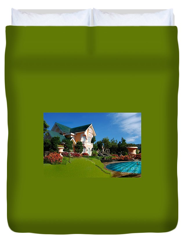 House Duvet Cover featuring the photograph Holiday Home by Charuhas Images