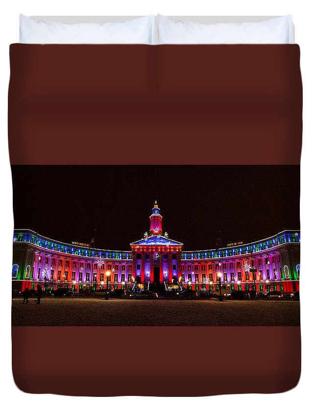 Denver Duvet Cover featuring the photograph Holiday Light Panorama Of The Denver City And County Building by Tony Hake