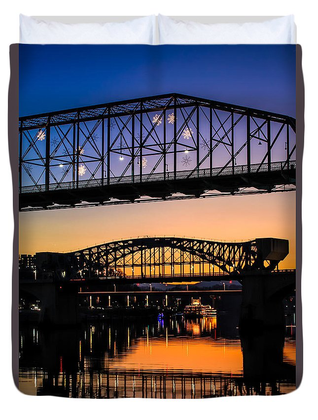 Chattanooga Duvet Cover featuring the photograph Holiday Lights Chattanooga #2 by Tom and Pat Cory