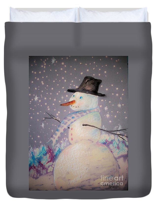 Christmas. Winter Duvet Cover featuring the mixed media Holiday Magic by Sandra McClure