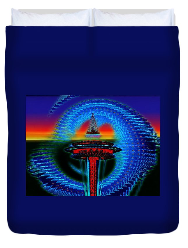 Seattle Duvet Cover featuring the digital art Holiday Needle Illusion by Tim Allen