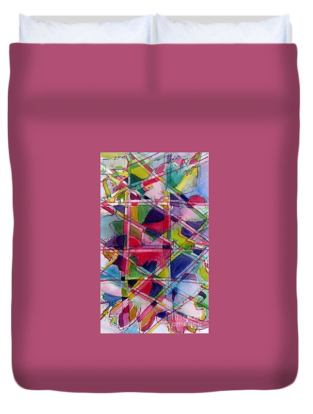 Abstract Duvet Cover featuring the painting Holiday Rush by Jan Bennicoff