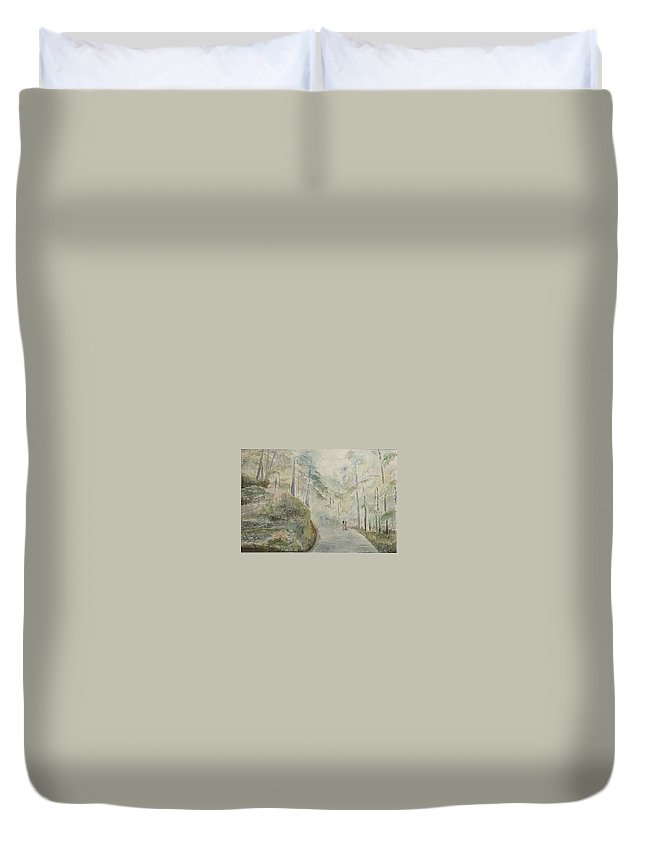 Mountains Duvet Cover featuring the painting Holidays In Shimla by Geeta Biswas