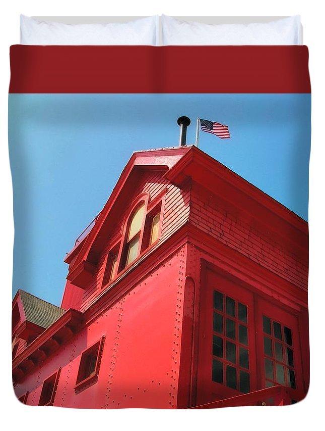 Windows Duvet Cover featuring the photograph Holland Harbor Light From The Bottom Up by Michelle Calkins