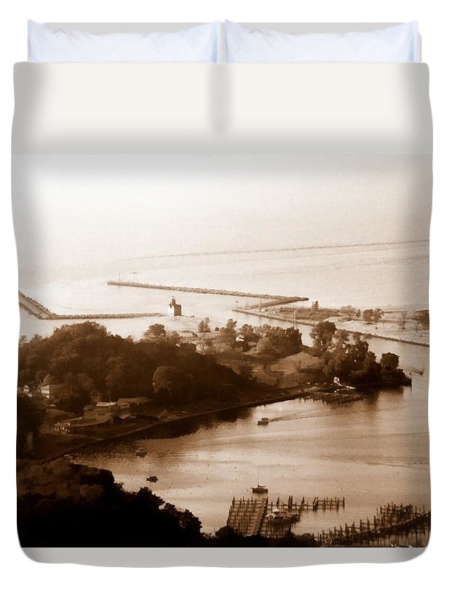 Holland Duvet Cover featuring the photograph Holland Michigan Harbor Big Red Aerial Photo by Michelle Calkins