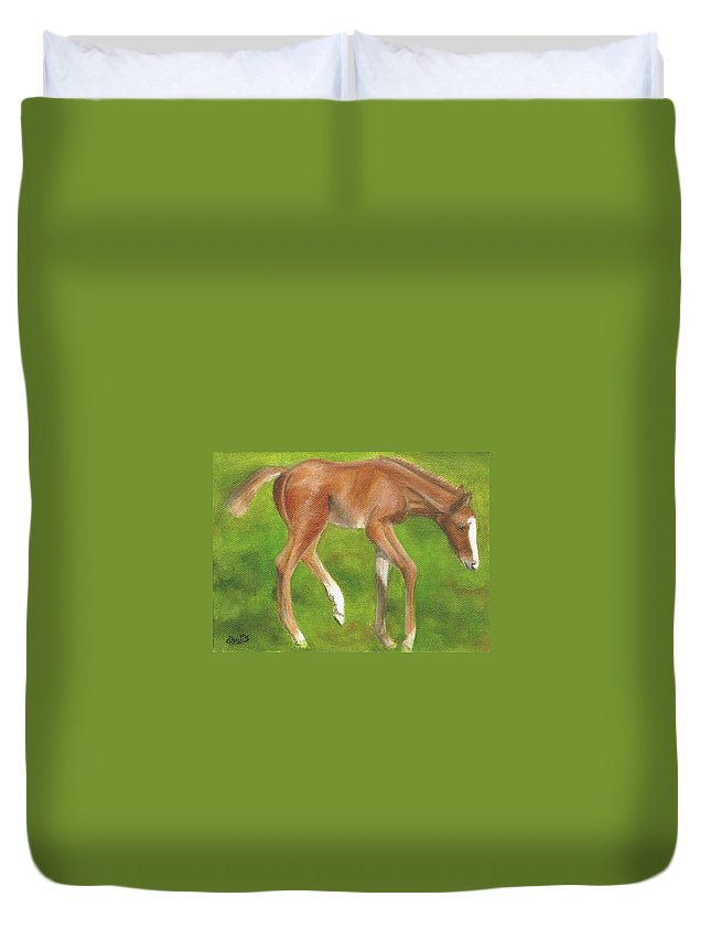 Horse Paintings Duvet Cover featuring the painting Holly by Deborah Butts