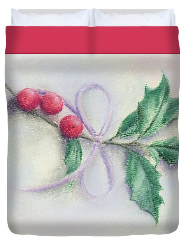 Botanical Duvet Cover featuring the pastel Holly Sprig With Bow by MM Anderson