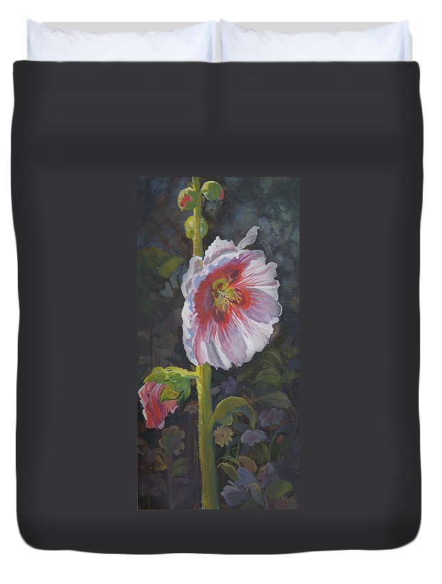 Flower Duvet Cover featuring the painting Hollyhock by Heather Coen