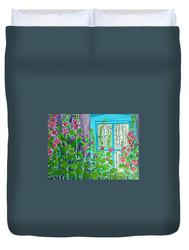 Hollyhocks Duvet Cover featuring the painting Hollyhock Surprise by Laurie Morgan