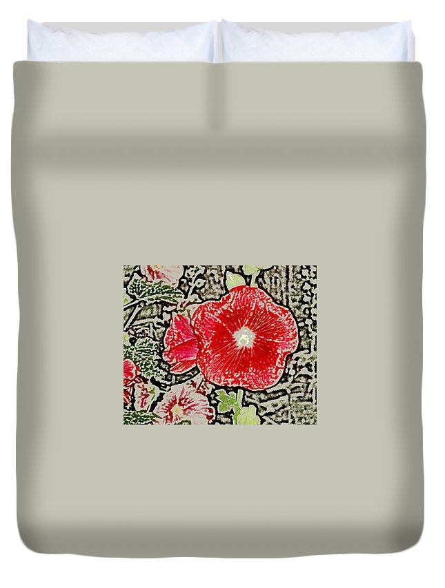 Flower Duvet Cover featuring the photograph Hollyhock by Wayne Potrafka