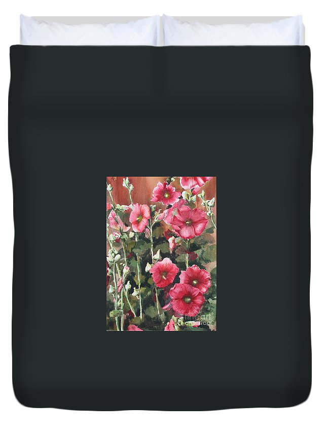 Sokolovich Duvet Cover featuring the painting Hollyhocks Along The Fence by Ann Sokolovich