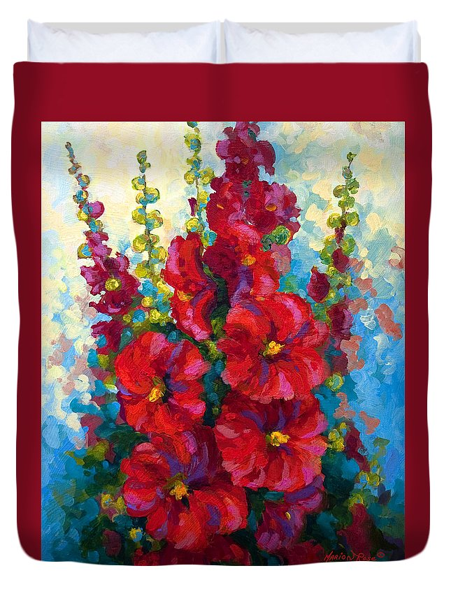 Floral Duvet Cover featuring the painting Hollyhocks by Marion Rose