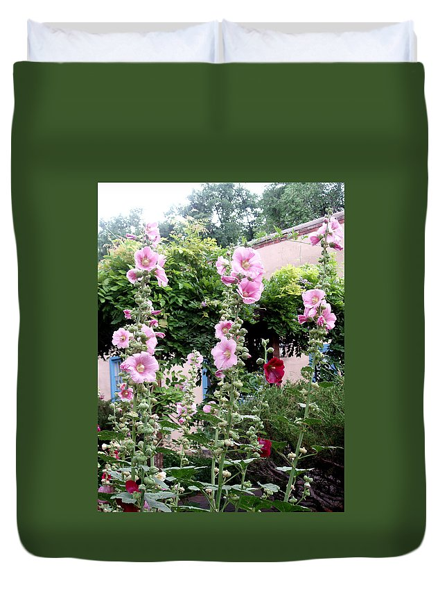 Flowers Duvet Cover featuring the photograph Hollyhocks Taos New Mexico by Wayne Potrafka