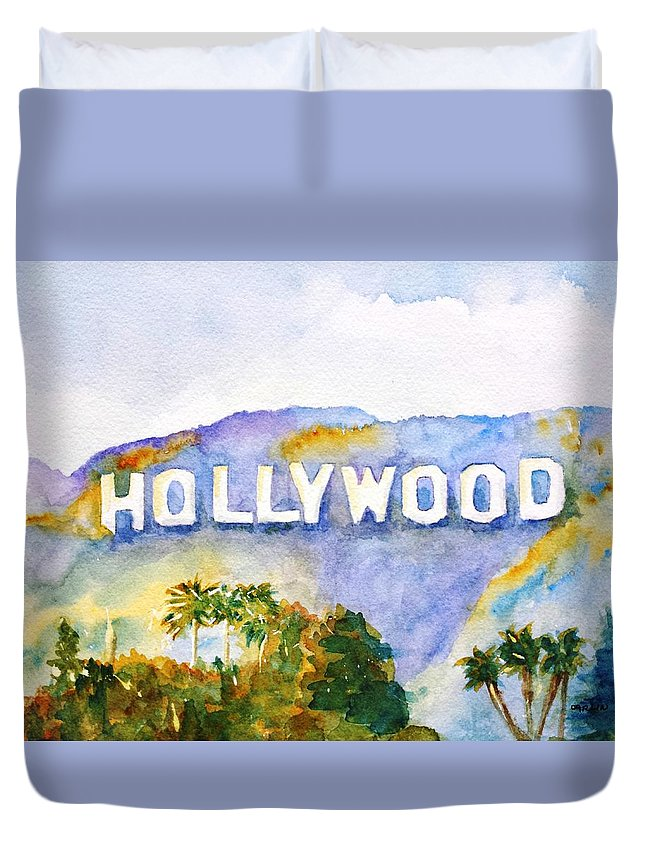 Sign Duvet Cover featuring the painting Hollywood Sign California by Carlin Blahnik CarlinArtWatercolor