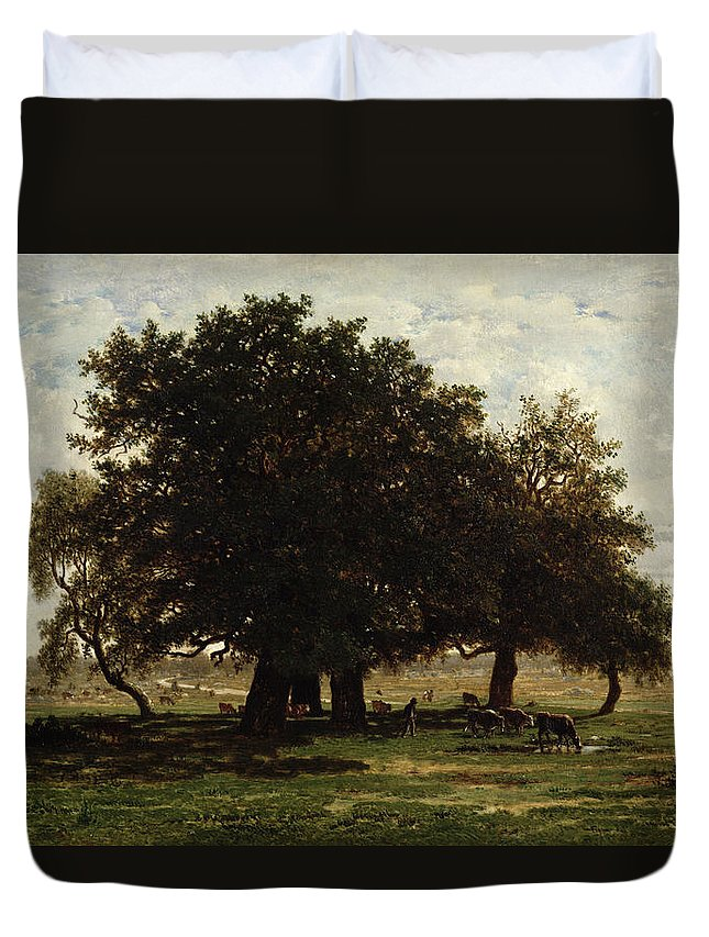 Holm Duvet Cover featuring the painting Holm Oaks by Pierre Etienne Theodore Rousseau