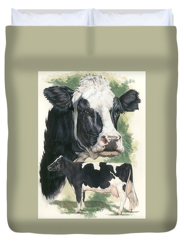Cow Duvet Cover featuring the mixed media Holstein by Barbara Keith