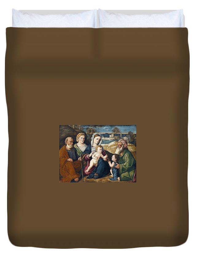 Pietro Degli Ingannati Holy Conversation Duvet Cover featuring the painting Holy Conversation by Pietro degli Ingannati