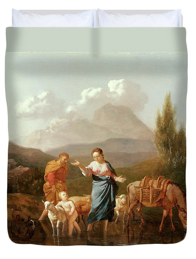 Holy Family At A Stream (oil On Canvas) By Karel Dujardin (c.1622-78) Duvet Cover featuring the painting Holy Family At A Stream by Karel Dujardin