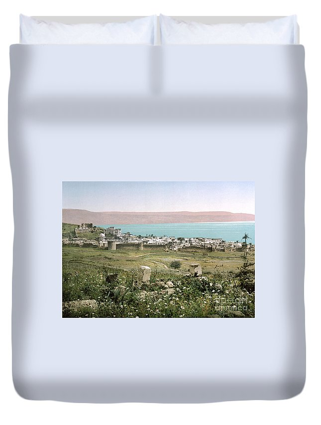 1895 Duvet Cover featuring the photograph Holy Land: Tiberias by Granger