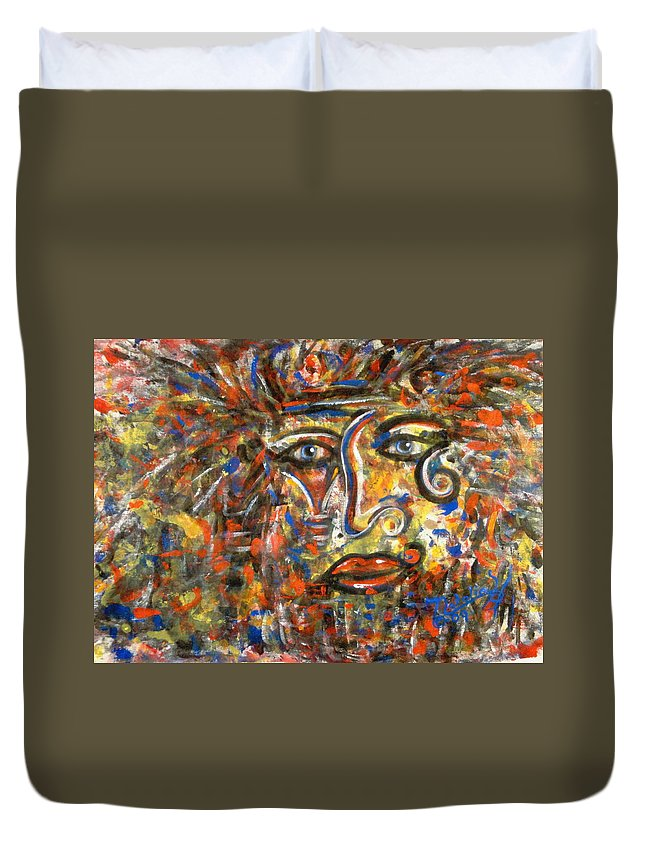 Free Expressionism Duvet Cover featuring the painting Holy Man by Natalie Holland