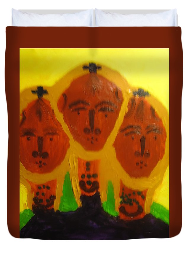 Jesus Duvet Cover featuring the painting Holy Trinity by Gloria Ssali
