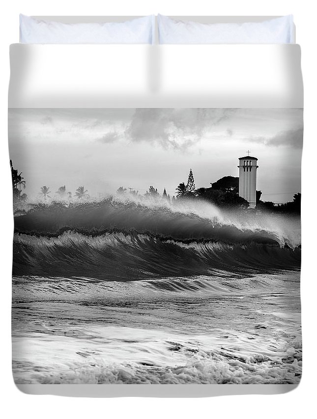Wave Duvet Cover featuring the photograph Holy Water by Sean Davey