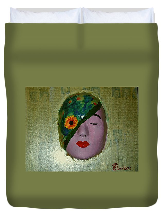 Gold Duvet Cover featuring the painting Homage One by Laurette Escobar