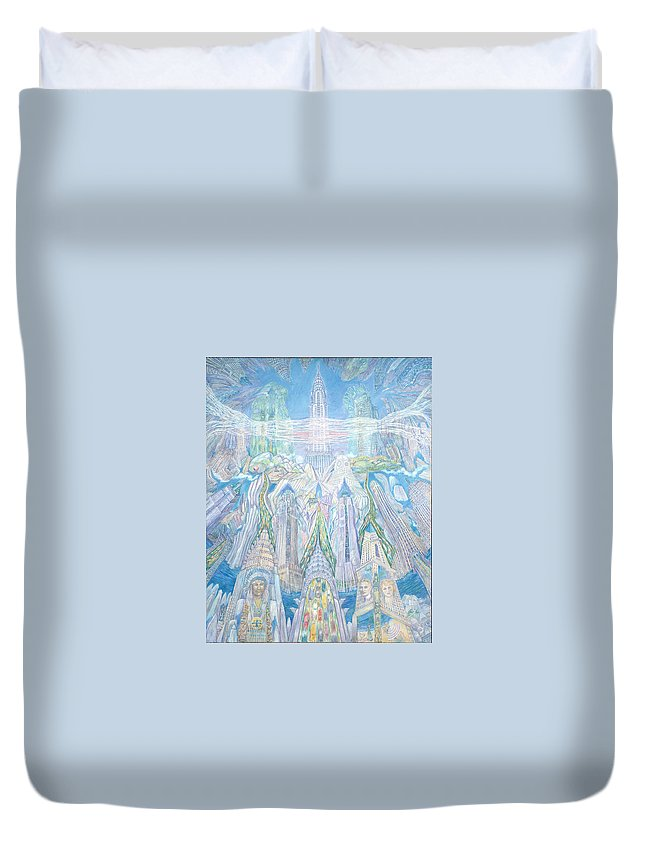 New York Cityscape Duvet Cover featuring the painting Homage To New York And The Chrysler Building by Patricia Buckley
