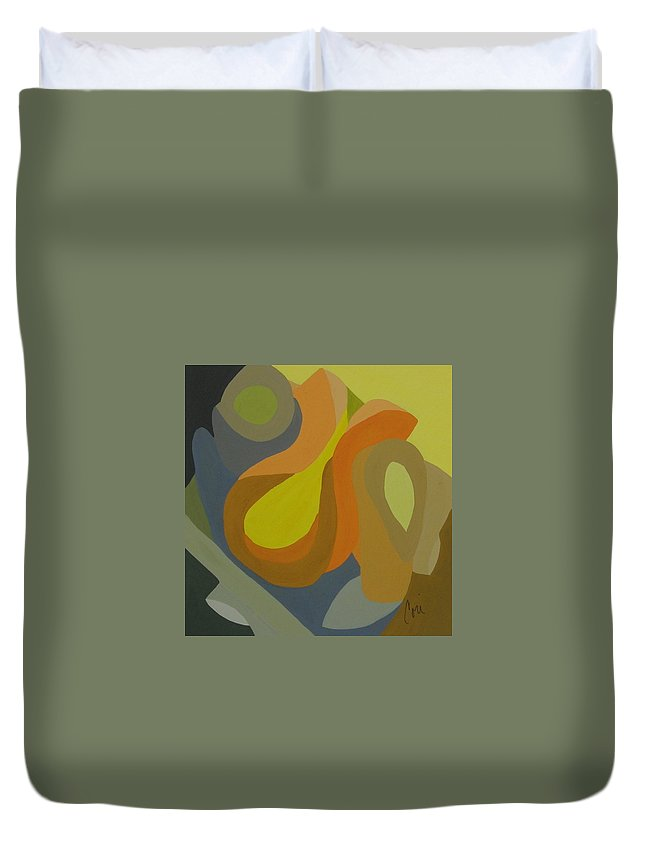 Abstract Duvet Cover featuring the painting Homage To The 70's by Cori Solomon