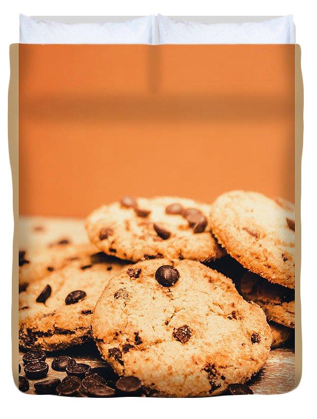 Chocolate Duvet Cover featuring the photograph Home Baked Chocolate Biscuits by Jorgo Photography - Wall Art Gallery