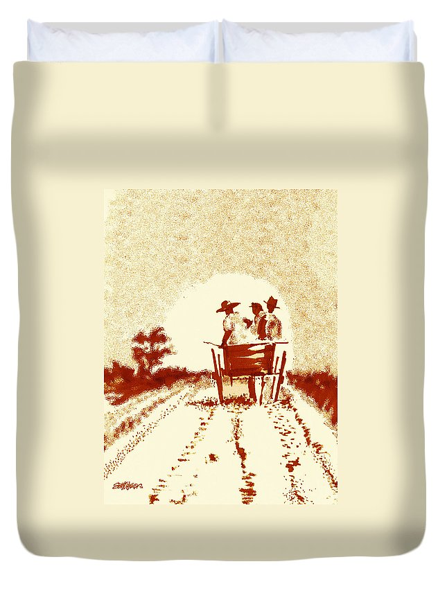 Old South Duvet Cover featuring the digital art Home Before Dark by Seth Weaver