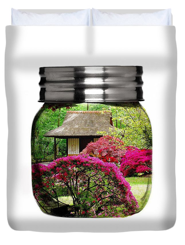Flower Duvet Cover featuring the mixed media Home Flower Garden In A Glass Jar Art by Marvin Blaine