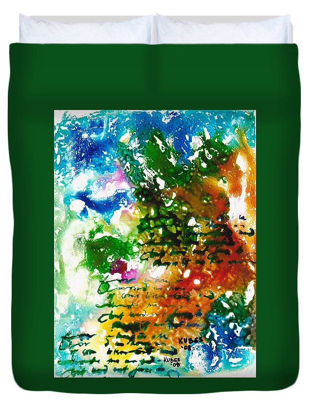 Abstract Duvet Cover featuring the mixed media Home For Christmas by Susan Kubes