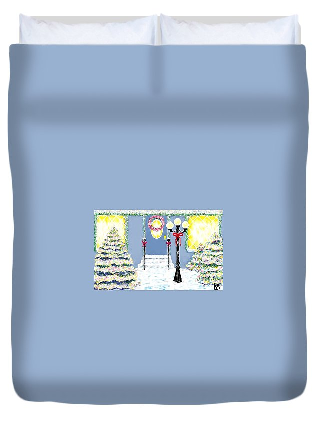 Holidays Duvet Cover featuring the painting Home For The Holidays by LCS Art