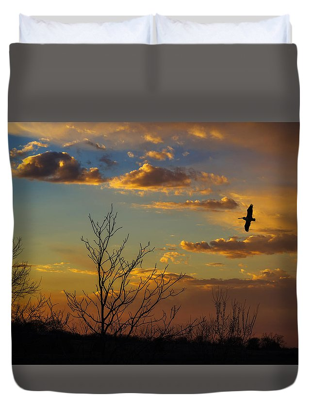Sunset Duvet Cover featuring the photograph Home For The Night by Eddie Daniels
