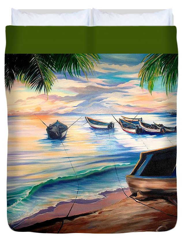 Ocean Painting Caribbean Painting Seascape Painting Beach Painting Fishing Boats Painting Sunset Painting Blue Palm Trees Fisherman Trinidad And Tobago Painting Tropical Painting Duvet Cover featuring the painting Home From The Sea by Karin Dawn Kelshall- Best